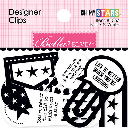 Designer Clips, Oh My Stars - Black & White