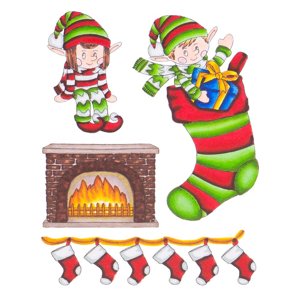 Stamp & Color Outline Stamp, Deck the Halls - Elves & Stockings
