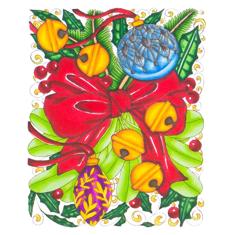 Stamp & Color Outline Stamp, DTH - Ribbon & Bells Background