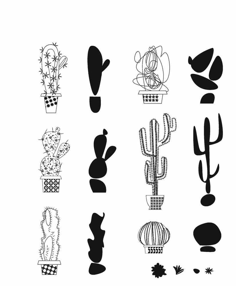 Cling Stamp, Mod Cactus