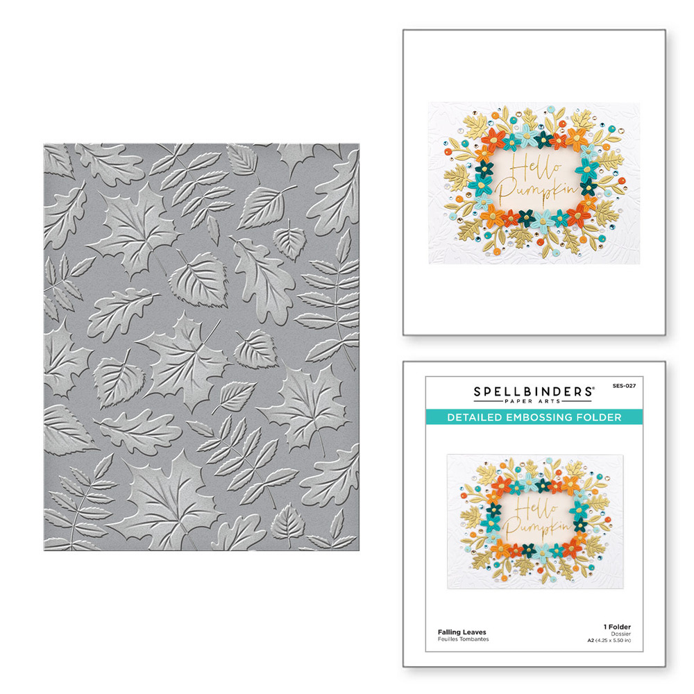 Embossing Folder, Fall Traditions - Falling Leaves