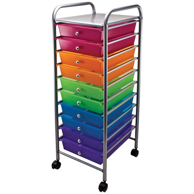 Rolling Cart, 10-Drawer - Multi-Color