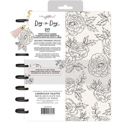 7.5X9.5 Freestyle Planner, Disc Planner - Black & White Floral