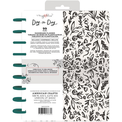 7.5X9.5 Dashboard Planner, Disc Planner - Black & White Floral