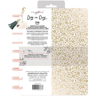 7.5X9.5 Freestyle Planner, Disc Planner - Gold Floral