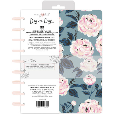 7.5X9.5 Dashboard Planner, Disc Planner - Blue and Pink Rose