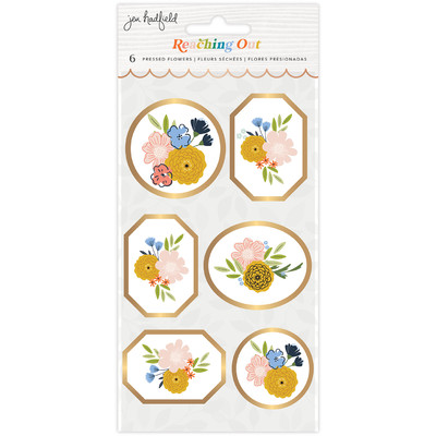 Pressed Flower Stickers, Reaching Out (Gold Foil)