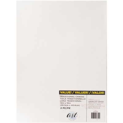 Art Supply Basics Stretched Canvas, 12X16 (2pc)