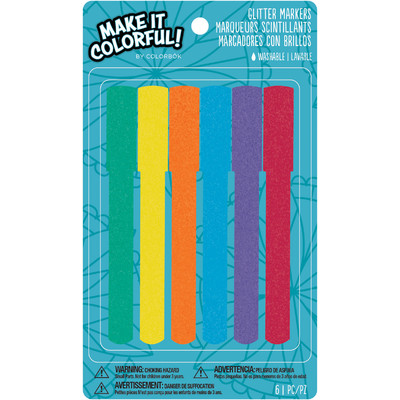 Colorbok Make it Colorful Markers, Glitter (6 Piece)