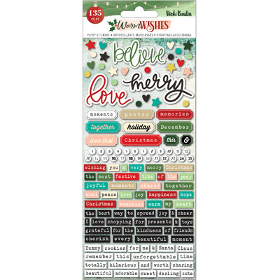 Embossed Puffy Stickers, Warm Wishes