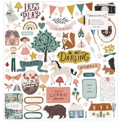 12X12 Chipboard Stickers, Magical Forest
