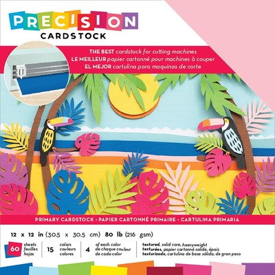 12X12 Precision Cardstock Pack, Textured - Primary