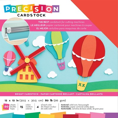 12X12 Precision Cardstock Pack, Textured - Bright