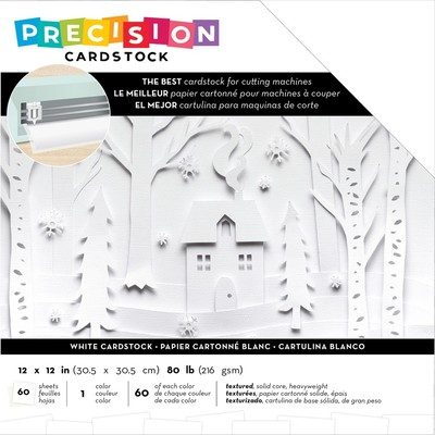 12X12 Precision Cardstock Pack, Textured - White