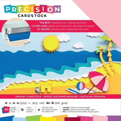 12X12 Precision Cardstock Pack, Smooth - Primary
