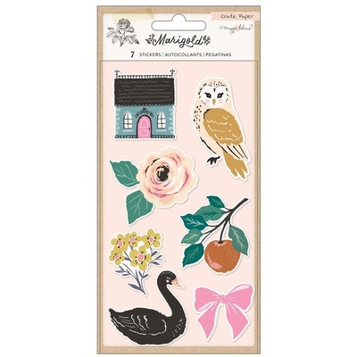 Puffy Stickers, Marigold (Embossed)