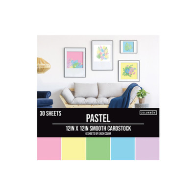 Colorbok 12X12 Smooth Cardstock Pack, Pastel