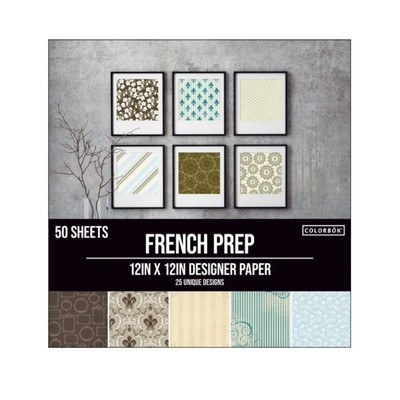 Colorbok 12X12 Designer Paper Pack, French Prep