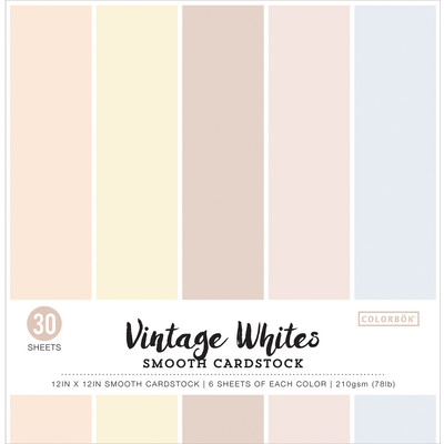 12X12 Smooth Cardstock Pack, Vintage Whites