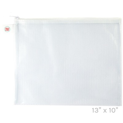 Zippered Vinyl Mesh Pouch, White - Large
