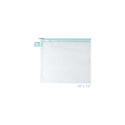Zippered Vinyl Mesh Pouch, Extra Large - Aqua