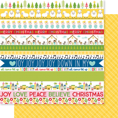 12X12 Patterned Cardstock, Let Us Adore Him - Borders