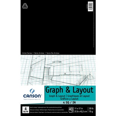 """Foundation Graph & Layout Paper Pad, 4/4 - 11"""" x 17"""""""