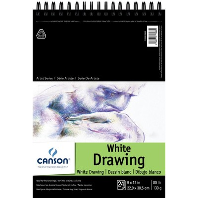 """1557 Pure White Drawing Paper Pad, 9"""" x 12"""""""