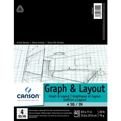 """Foundation Graph & Layout Paper Pad, 4/4 - 8.5"""" x 11"""""""