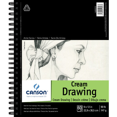 """1557 Classic Cream Drawing Paper Pad, 9"""" x 12"""" (Side Bound)"""