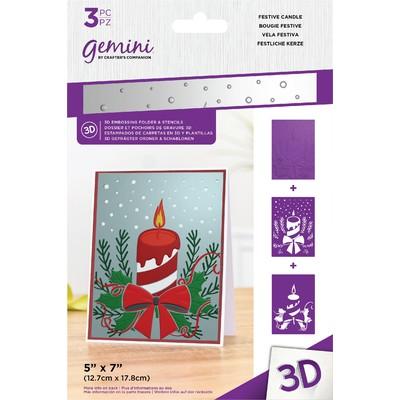 Gemini 3D Embossing Folder & Stencil, Festive Candle