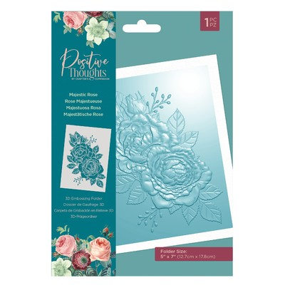 3D Embossing Folder, Positive Thoughts - Majestic Rose