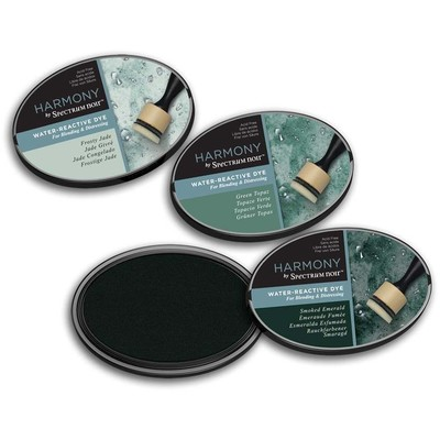 Harmony Water Reactive Ink Pad, Mineral Greens (3pc)