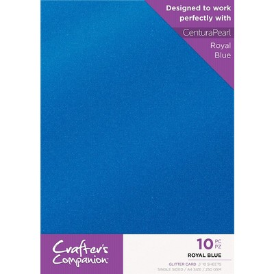 A4 Glitter Card Pack, Royal Blue