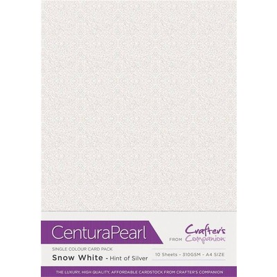 Centura A4 Pearl Card, Snow White - Hint of Silver