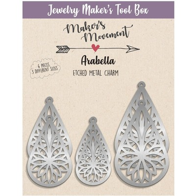 Etched Metal Charms, Arabella Teardrop