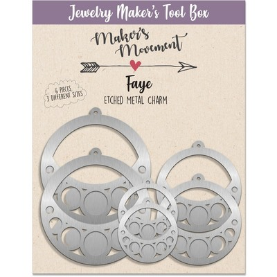 Etched Metal Charms, Faye Circle