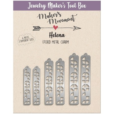 Etched Metal Charms, Helena Rectangle