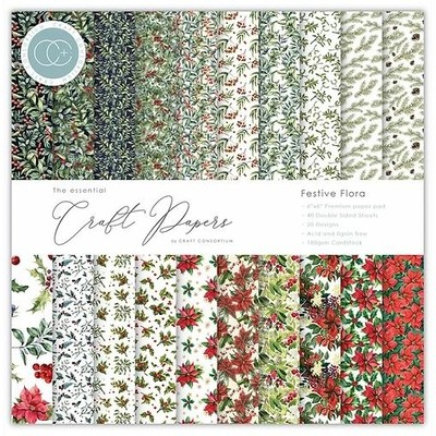 6X6 Essential Craft Papers Pad, Festive Flora