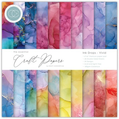 6X6 Essential Craft Papers Pad, Ink Drops - Vivid