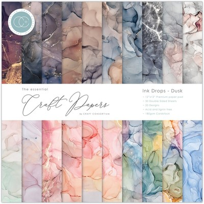 12X12 Essential Craft Papers Pad, Ink Drops - Dusk