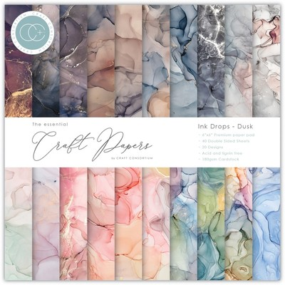 6X6 Essential Craft Papers Pad, Ink Drops - Dusk