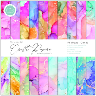 12X12 Essential Craft Papers Pad, Ink Drops - Candy