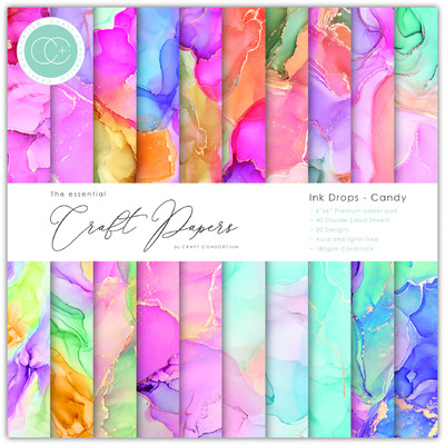 6X6 Essential Craft Papers Pad, Ink Drops - Candy