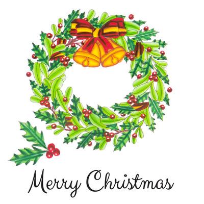 Stamp & Color Outline Stamp, Deck the Halls - Merry Wreath