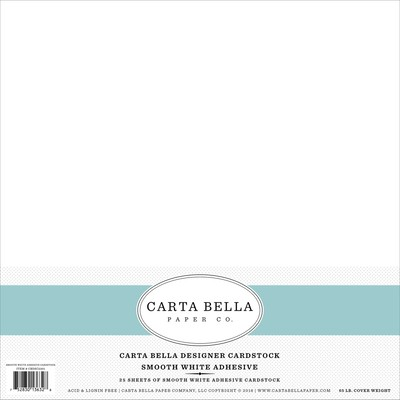12X12 Adhesive Cardstock, Smooth White 65#