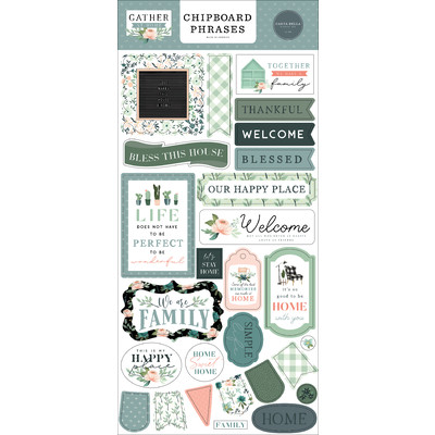 Chipboard Phrases, Gather at Home