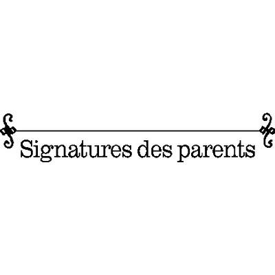 Cling Stamp, Signatures Des Parents