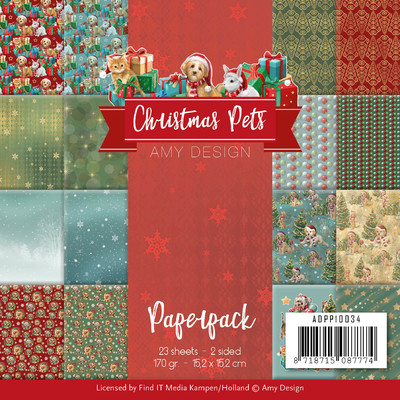 Amy Design 6X6 Paper Pack, Christmas Pets
