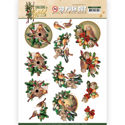 Amy Design 3D Push Out, Christmas in Gold - Birds in Gold